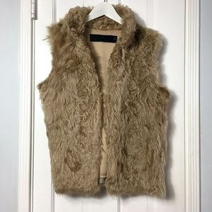 Zara Woman Lamb Fur Tan Vest sz M